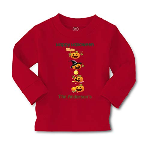 Personalized Custom Halloween Pumpkin Party Long Sleeve Crewneck Toddler Boys-Girls Cotton T-Shirt Tee - Red, 5/6T]()