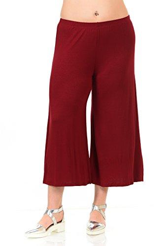 Pastel by Vivienne Women's Wide Leg Crop Culottes Plus Size XX-Large Burgundy
