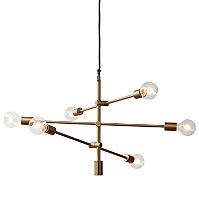 "Rivet Modern 6-Light Chandelier, 80""H, Brass"