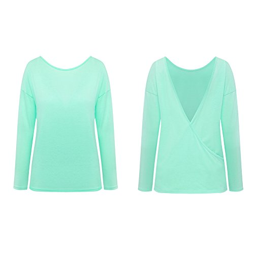 Minetom Mujeres Ocasionales Color Sólido Camisetas Con Manga Larga Escotado por Detrás Camisa T-shirt Blusa Tops Verde