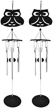 Yarnow 2ピースフクロウ風鈴、屋外屋内風鈴クリエイティブかわいい風鈴パティオポーチ庭の装飾