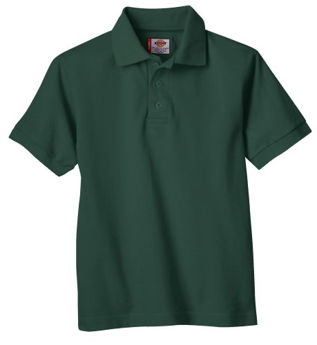Dickies Big Boys' Short Sleeve Pique Polo Shirt, Hunter Green, Medium (10/12)