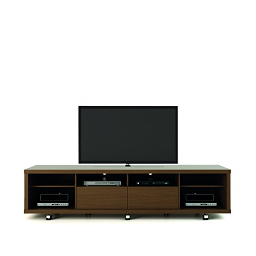 Manhattan Comfort Cabrini 2.2 Stand Collection Free Standing TV Stand with Storage, 85.4' L x 20.8' D x 17.6' H, Nut Brown