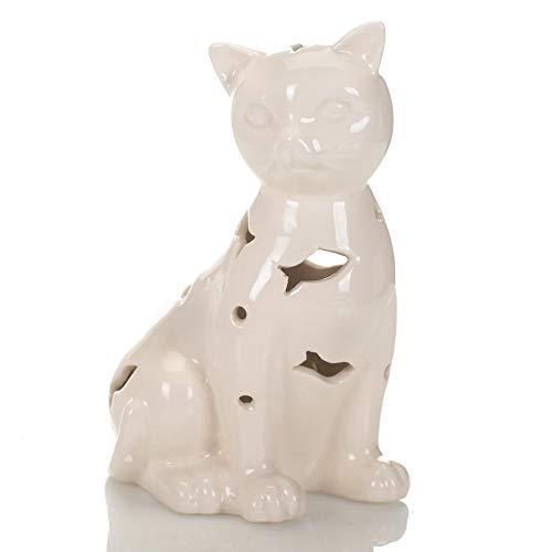 Drew Derose Glossy White Cat LED Lighted 5 x 4 Ceramic Collectible Figurine Ceramic Glazed Cat Figurine