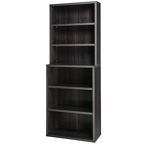 EFD 6-Shelf Shelving Unit Black Walnut Wooden Open Display Storage Modern Minimalist Low Profile Adjustable Shelves Tiered Tall Wide Library Office Bedroom Bookcase Home Furniture eBook (Home Library Bookcases)