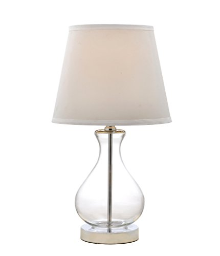 Catalina Rylan 18-Inch Teardrop Glass Table Lamp with White Fabric Shade, 19896-001 Clear