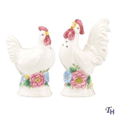 (Lenox Butterfly Meadow Figural Roosters Salt & Pepper Shakers)