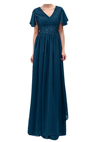 Toscana de novia vestidos de gasa corto perla Chic por la noche mangas madre de la novia vestidos de bola de fiesta largo Tinte Blau