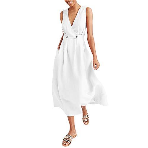 Womens Summer Beach Dress,V-Neck Button Tank Long Dress Changeshopping White