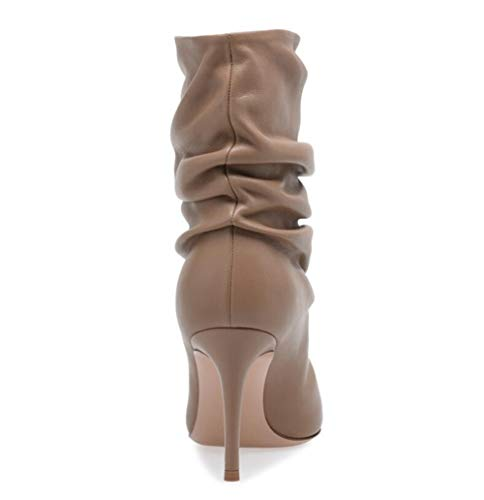Size Large Pleated Shoes Nude Court Heel High Shoes Ankle Shiney Womens Boots Working AHwqgg