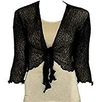 RIDDLED WITH STYLE Ladies Open Front Plain Tie Up Knitted Shrug Womems Casual Fancy Top Cardigan