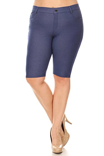 Knee Short (ICONOFLASH Women's Jegging Bermuda Shorts - Pull On Soft Stretchy Cotton Legging with Plus Size Options (Denim Blue, XL))