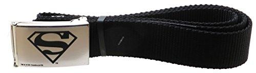 Superman Fashion Belt (Superman Brushed Silver/Black Web Belt 1.5