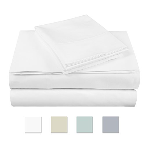 500 Thread Count 100% cotton Sheet Set, White Queen Sheet Set, 4-piece Long Staple Combed Pure Cotton best sheets for bed, Breathable, Soft & Silky Sateen Weave Fits Mattress upto ()