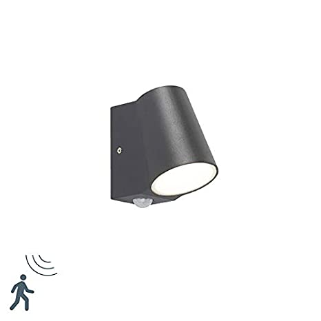QAZQA Moderno Aplique moderno gris oscuro con detector de movimiento IP44 LED - UMA Aluminio/