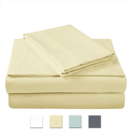 (AXIA 400 Thread Count 100% Cotton Sheet Set, Gold King Sheet Set, 4-Piece Long Staple Combed Pure Cotton Best Sheets for Bed, Breathable, Soft & Silky Sateen Weave Fits Mattress Upto 18