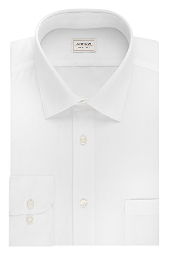 arrow-mens-poplin-athletic-fit-solid-spread-collar-dress-shirt-white-16-165-neck-34-35-sleeve