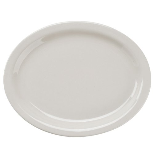 Narrow Rim American White (Ivory/Eggshell) China Oval Platter - 11 1/2