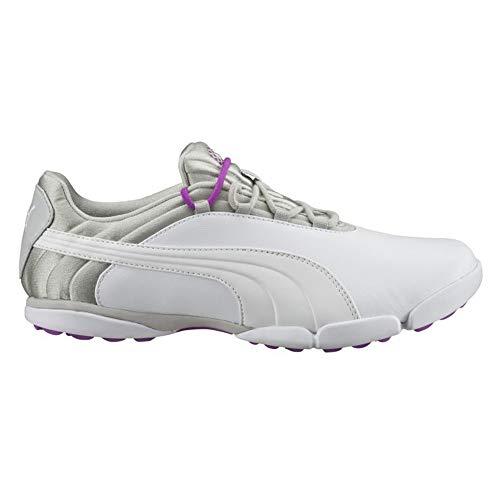 PUMA Golf Women's sunnylite v2 Golf Shoe, White-Gray Violet-Purple Cactus Flower, 7.5 Medium US