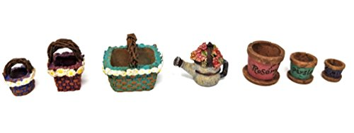 Miniature Accessories decor kit for Fairy Garden, Dollhouse, Micro landscape- 3 Tiny Daisy Basket set - 3 Mini Herb or Flower Pots - 1 Floral Watering Can - 7 piece miniature bundle -