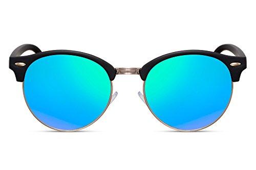 Cheapass Sunglasses Clubmaster Miroitant Rétro Femmes Hommes Noir13
