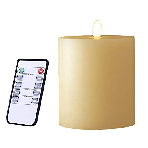 smtyle 3 x 3 inch Moving Flame Battery Operated Candles with Moving Flame Wick and Timer, Flameless Flickering LED Pillar Candles Flat Top