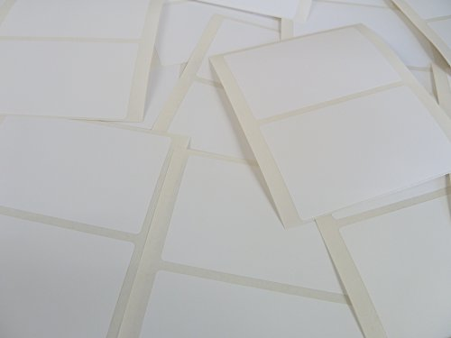 Pack of 40, 75x45mm (3 x 1.8 inch) Rectangles , White Paper Labels , Removable Low Tack Adhesive Rectangles, Easy to Remove , Plain (Removable Rectangle Labels)