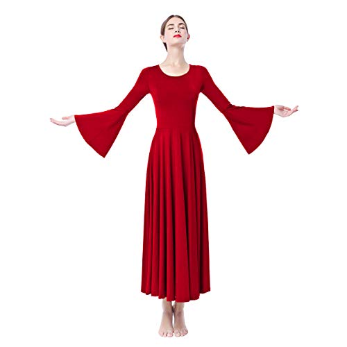 Women Long Bell Sleeve Liturgical Praise Dance Dress Solid Casual Flare Full Length Loose Fit Pleat Maxi Worship Gown Red - Dance Dresses Liturgical