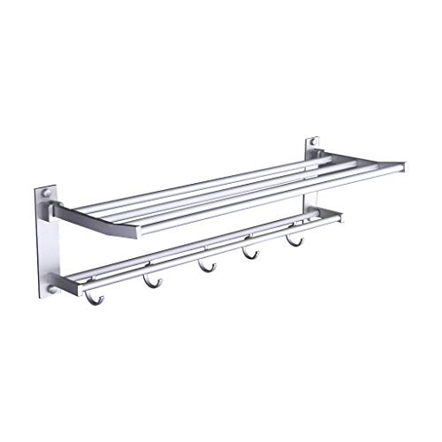 Wall Mounted Bath Towel Rack, Puyujin Bathroom Shelves Multifunctional Foldable Wall Mounted Double Storage Holder, Polished 304 Stainless Steel Towel Shelf - Shipped From USA (Silver, 1 - Tier)