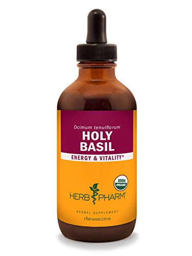 Herb Pharm Certified Organic Holy Basil (Tulsi) Liquid Extract for Energy and Vitality - 4 Ounce ()