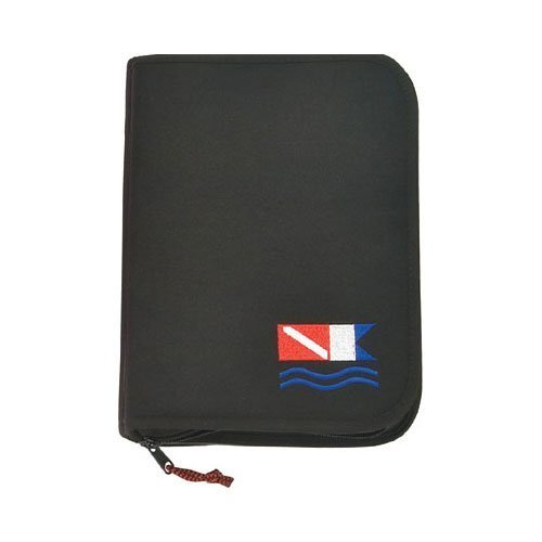 New Innovative Scuba Slimline (30% Smaller) 3 Ring Zippered Log Book Binder with FREE Generic Log Insert ($12.95 Value) - Black with Diver Down Flag (1 x 9.75 x 6.25 Inches) ()