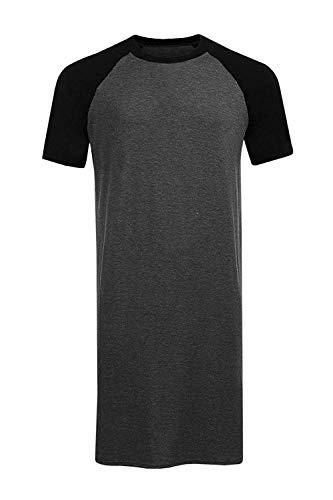 Runcati Mens Sleepshirt Short Sleeve Nightgown Raglan Long Night Shirts Henley Sleepwear ()