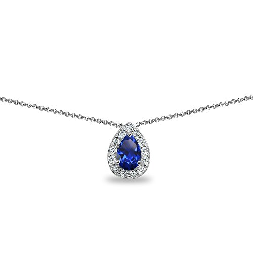 - Sterling Silver Created Blue Sapphire Teardrop Halo Choker Necklace with CZ Accents