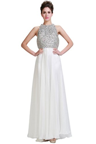HarveyBridal Crystal Backless Chiffon Prom Dress long White