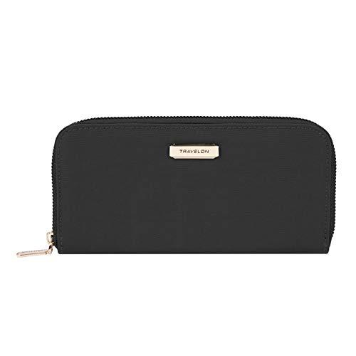 Travelon RFID Blocking Single Zip Wallet, Black