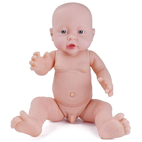 HiPlay Realistic Baby Doll Lifelike Vinyl Naked Boys/Girls Newborn Baby Dolls for Kids Toys/Nursing Practice/Teaching/Photography - Size & Gender Selectable (16 inch Boy)