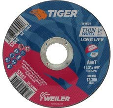 Depressed Center Wheel Type 27 60 GRIT WEILER Tiger Aluminum Oxide Cutting Wheel 4 1//2 in Diameter 57041 7//8 in Center Hole -.045 in Thick