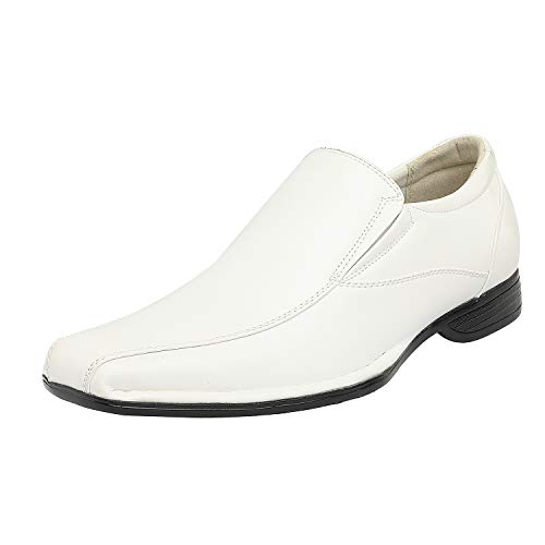 Bruno Marc Men's Giorgio-1 White Leather Lined Dress Loafers Shoes - 10.5 M US -