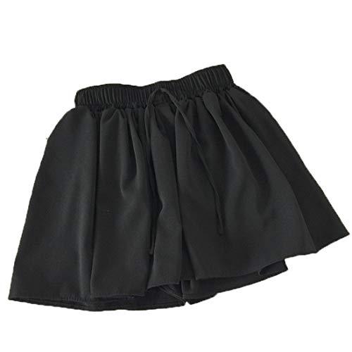 shorts Weirk pantalone chiffon Donna spiaggia semplice pants Nero culotte eleganti fionda zz1r8q