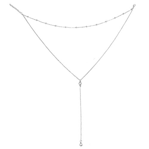 Wowanoo Vintage Double Layer Alloy Crystal Choker Necklace with Long Chain Pendant Silver]()