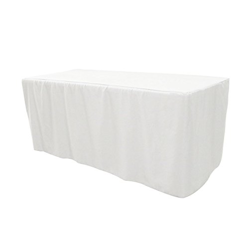 Your Chair Covers 6 ft Polyester Fitted Tablecloth - White, Premium Quality
