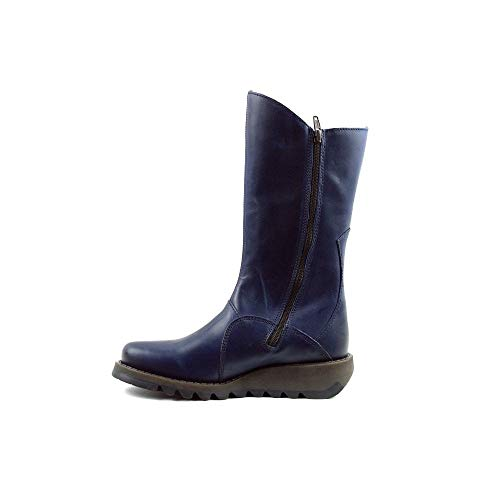 Mid Leather London Calf Womens Fly Blue Boots 2 Mes F6tZXqX