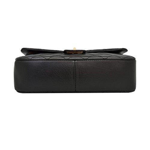 COSTANZA Borsetta pochette a spalla grande in pelle trapuntata tracolla catena e pelle oro chiaro pelle liscia morbida Media Nero