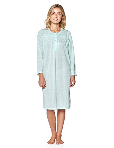 Casual Nights Women's Pointelle Pintucked Long Sleeve Nightgown - Green - 5X-Large (Nightgown Pintucked)