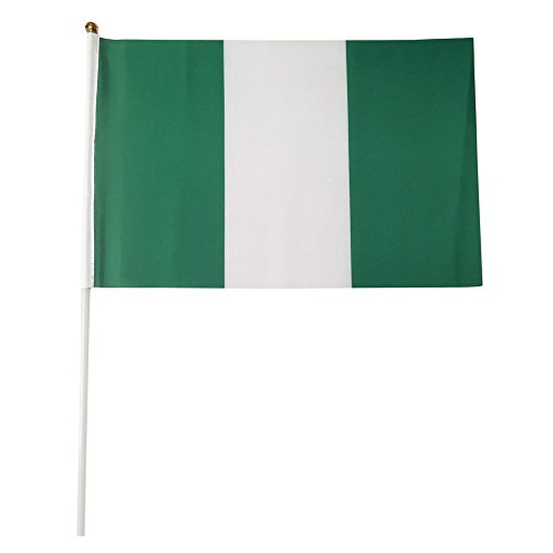 Nigeria Polyester Country Flags Desk Outside Waving Parade 12-pack Hand or 12 inch x 18 inch Grommet (12-Pack Hand Flag)