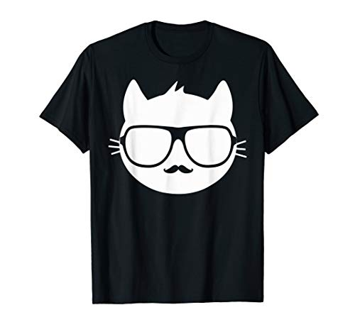 Crazy Cool Mad Kitty Cat With Glasses Sexy Mustache ()