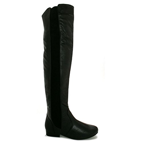 The Knee Black Boots Buy Leather Over Love Stretch Neptune Flat Spy Style YR0qw