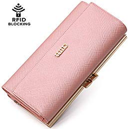 3375da2ab36d AIM Women RFID Blocking Wallet Real Leather Trifold Wallet Metal ...