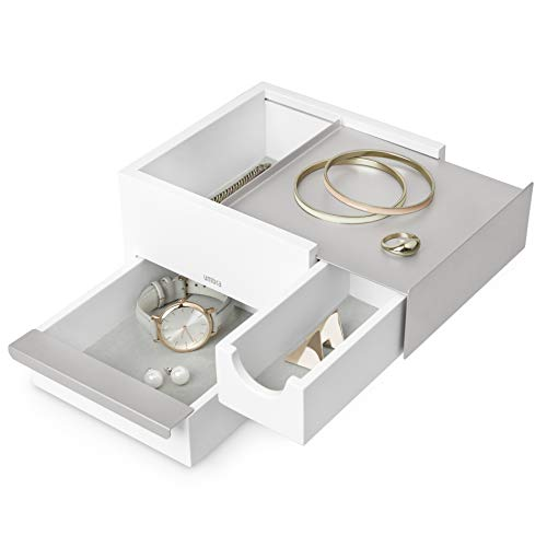- Umbra Mini Stowit Jewelry Box-Modern Keepsake Storage Organizer with Hidden Compartment Drawers for Ring, Bracelet, Watch, Necklace, Earrings, and Accessories, White/Nickel