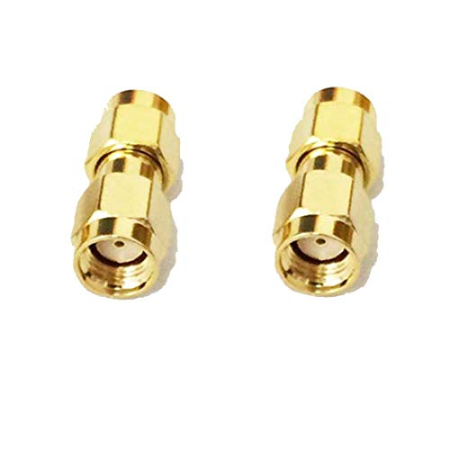 2pcs RP SMA Male to RP-SMA Male Plug RF Coax Adapter Coupler Reverse Straight Type Goldplated USA ()